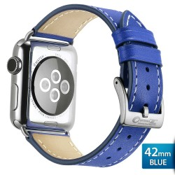 OptimuZ Premium Genuine Italy Leather Watch Band Strap for Apple Watch - 42mm Blue