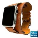 OptimuZ Premium Leather Cuff Bracelets Watch Band Strap for Apple Watch - 38mm Brown