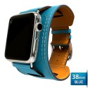 OptimuZ Premium Leather Cuff Bracelets Watch Band Strap for Apple Watch - 38mm Blue