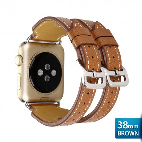 OptimuZ Premium Double Strap Leather Watch Band Strap for Apple Watch - 38mm Brown