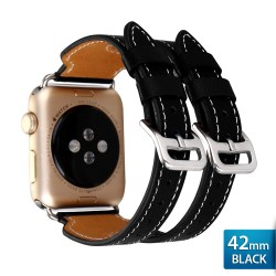 OptimuZ Premium Double Strap Leather Watch Band Strap for Apple Watch - 42mm Black