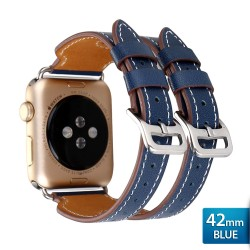 OptimuZ Premium Double Strap Leather Watch Band Strap for Apple Watch - 42mm Blue