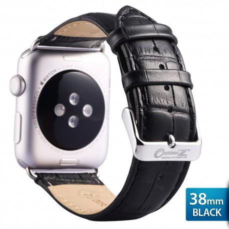 OptimuZ Premium Croc Leather Watch Band Strap for Apple Watch - 38mm Black