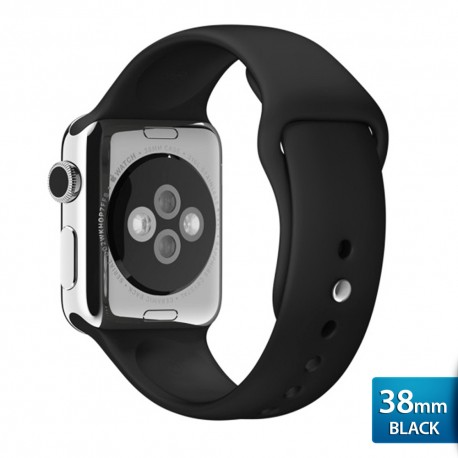 OptimuZ Premium Sport Silica Watch Band Strap for Apple Watch - 38mm Black