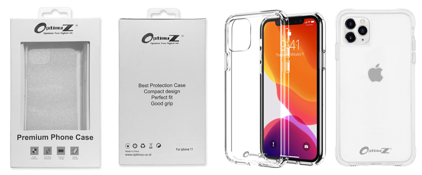 OptimuZ Clear Case Glass and TPU for iPhone 11 Pro Max
