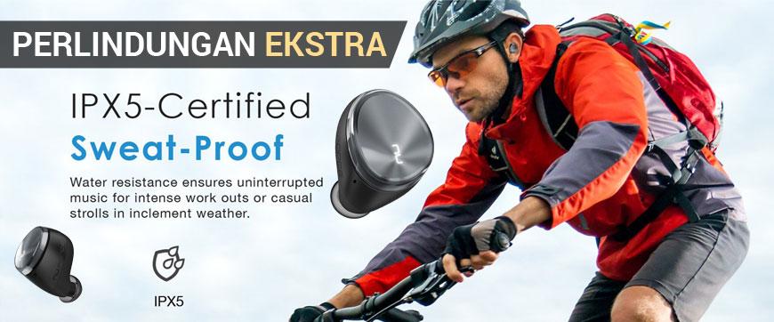Perlindungan Ekstra - IPX5 Water Resistant