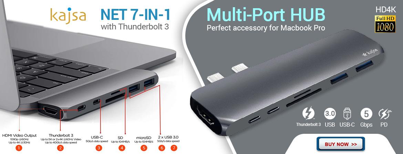 Kajsa NET 7-in-1 HUB USB Tipe-C Thunderbolt 3 – Abu-Abu