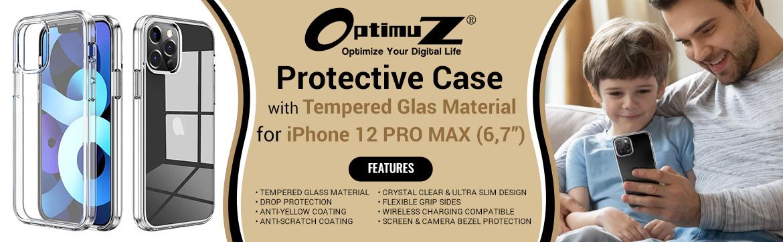 "OptimuZ Case Transparan Tempered Glass iPhone 12 PRO MAX (6,7"")"