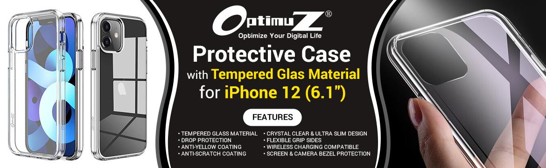 "OptimuZ Case Transparan Tempered Glass iPhone 12 (6,1"")"