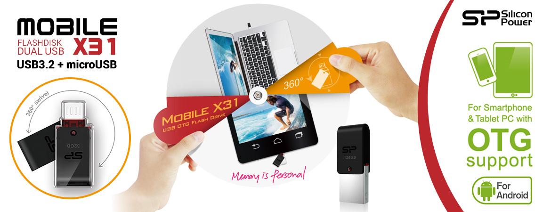 Silicon Power Mobile X31 Flashdisk OTG USB3.2 + microUSB 16GB-128GB Black