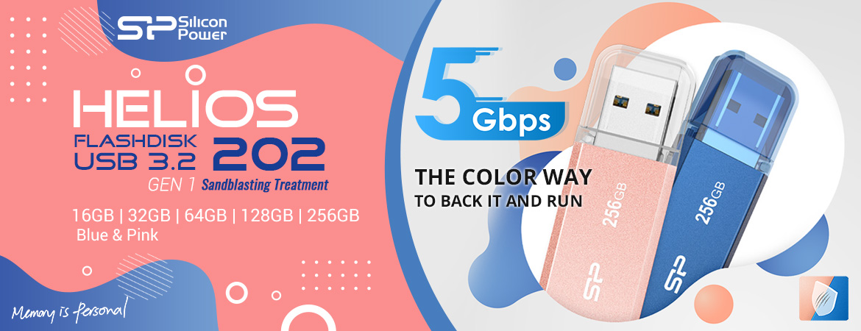 Silicon Power Helios 202 Flashdisk USB3.2 - 16GB-64GB Blue/Rose-Gold