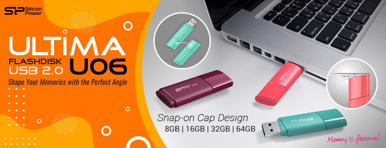 Silicon Power Ultima U06 Flashdisk USB2.0 - 16GB-64GB Blue/Pink/Purple