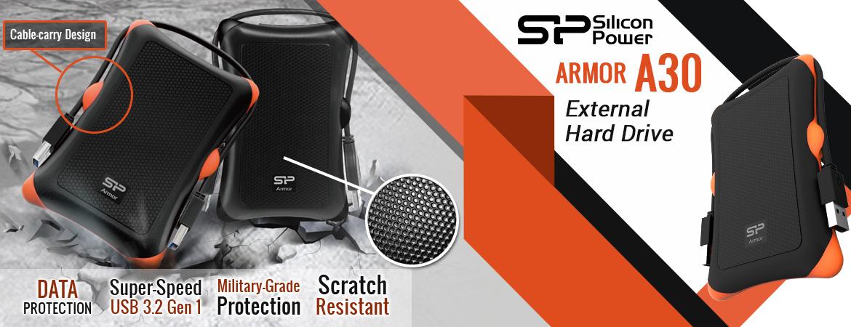 Silicon Power Armor A30 Harddisk Eksternal USB3.2 - 1TB-2TB Black-Orange