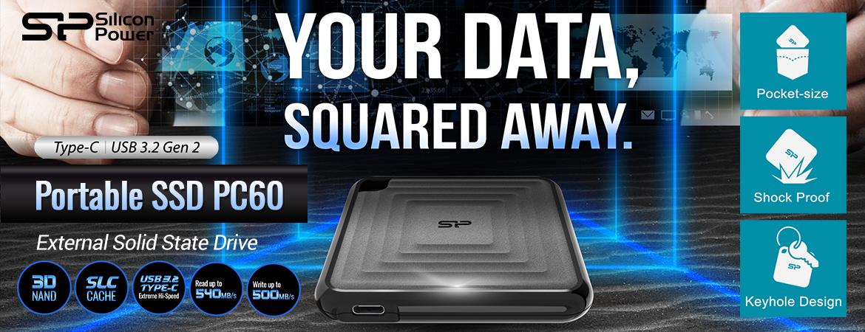 Silicon Power SSD Eksternal PC60 Type-C ke USB3.2 - 240GB-980GB
