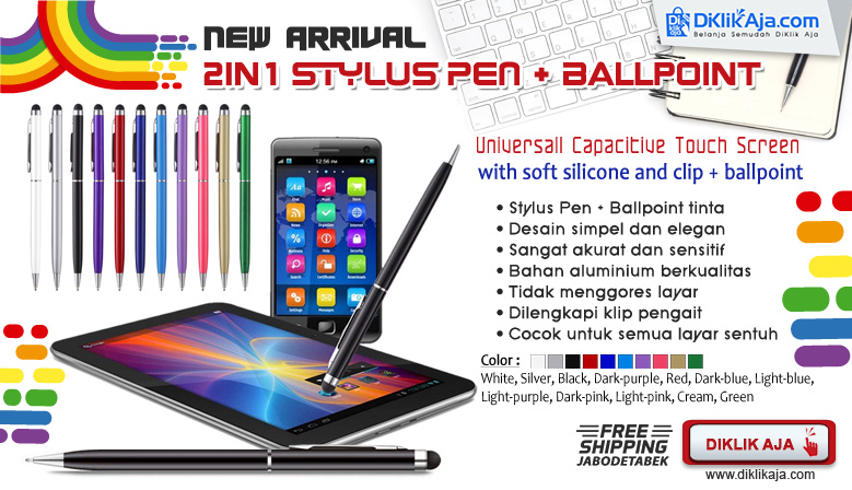 Stylus Pen + Ballpoint 2in1 Capacitive Touch Screen Universal