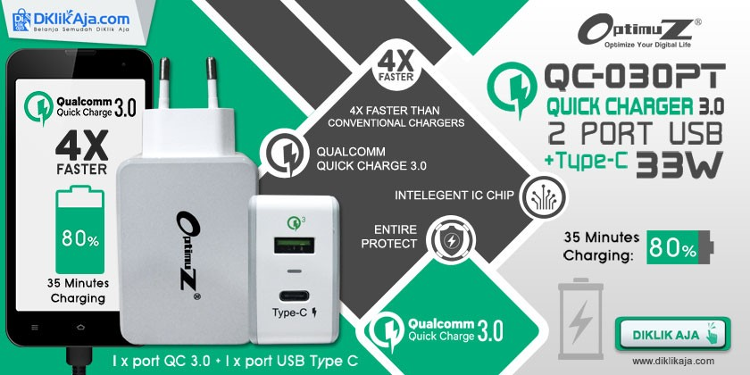 Review OptimuZ QC-030PT Quick Charge 3.0 Wall Charger 33W + Type-C