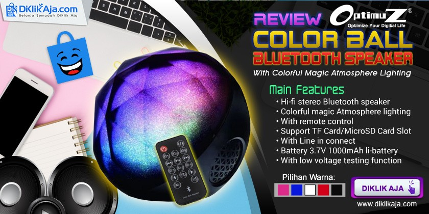 Review Speaker Portable Bluetooth OptimuZ Color Ball dengan lampu LED Penuh Warna dan Remot Kontrol