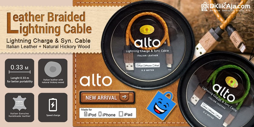 Produk Baru! Alto Kabel Data & Charger Lightning Braided Leather