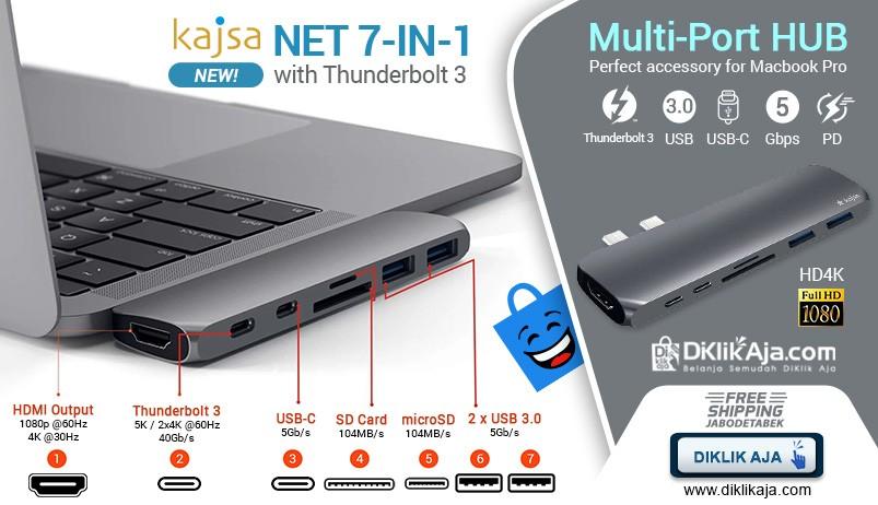 Kajsa NET 7-in-1 HUB USB Tipe-C Thunderbolt 3