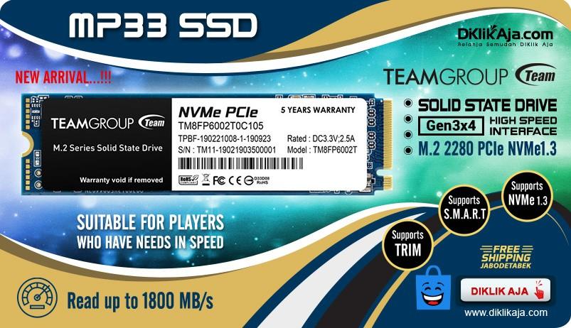 TEAM SSD Internal MP33 M.2 2280 PCIe NVMe1.3