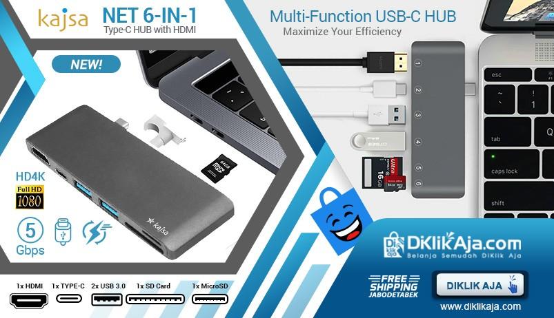 Kajsa HUB USB Tipe-C NET 6 in 1