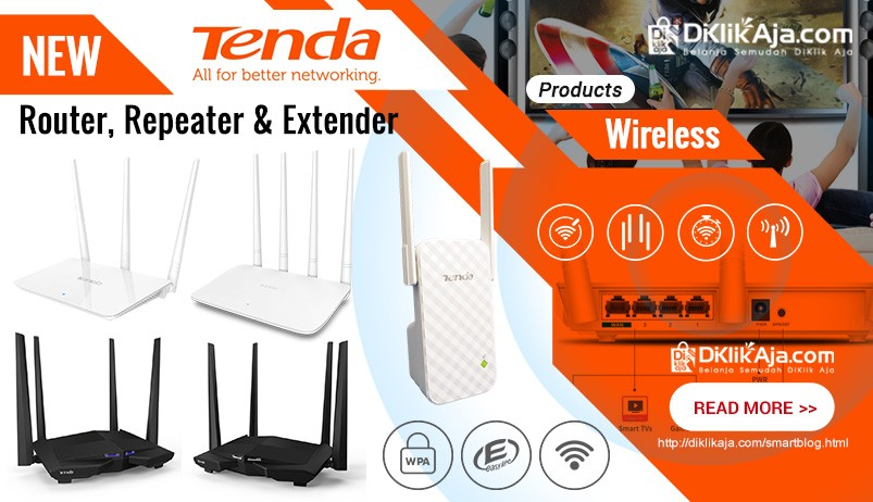 DiKlikAja.com Produk Baru TENDA Router Repeater Extender Wireless