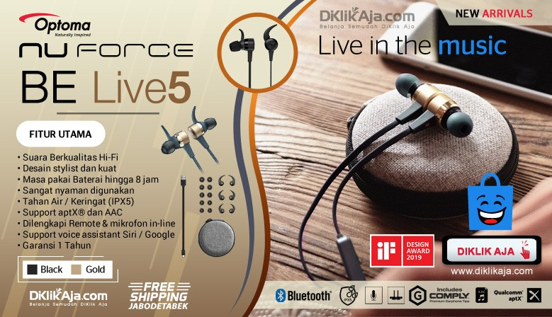 NuForce BE Live5 Earphone - New Arrival